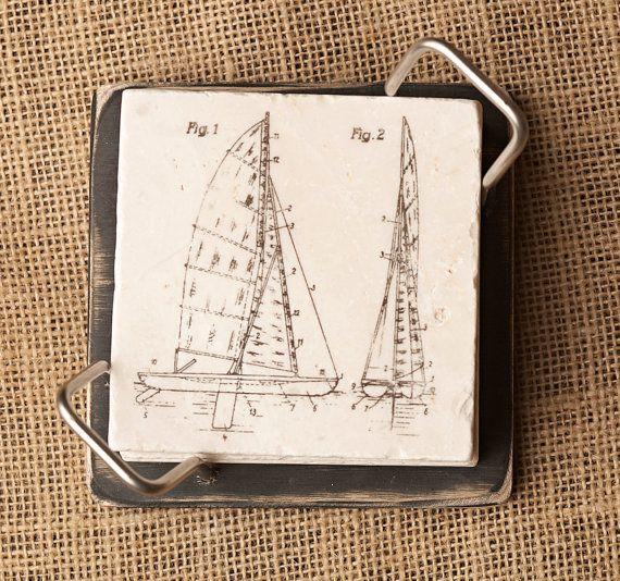 Sailboat Coasters Sailing Decor Sailboat Decor by lotuspetale