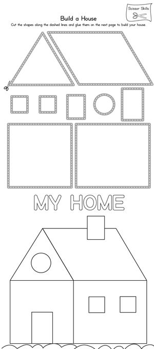 Printable Worksheets Home : House scissor practice printable worksheets infos and a
