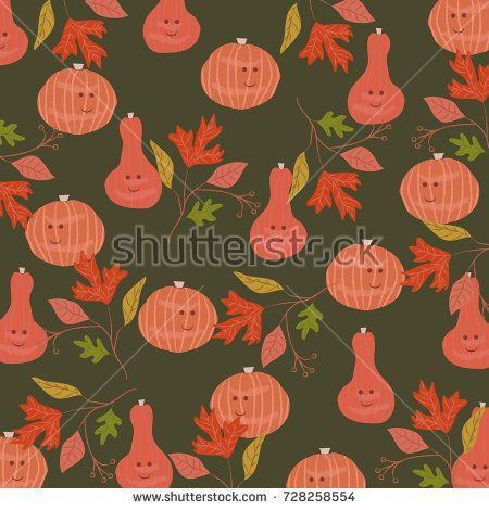 Halloween pattern with cute pumpkins and fall leaves.Hand drawn vintage background.For textile,texture,fabric,print,wallpaper,t-shirt design,invitation,greeting poster card design.Vector illustration.