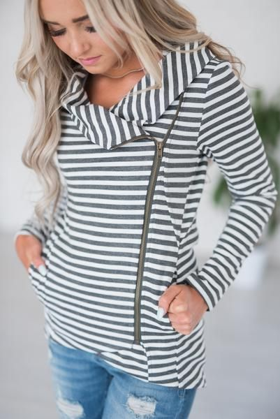 Reese Striped Zip-Up #mindymaesmarket #dreamcloset This one just hit the site!  I  this so much!!!