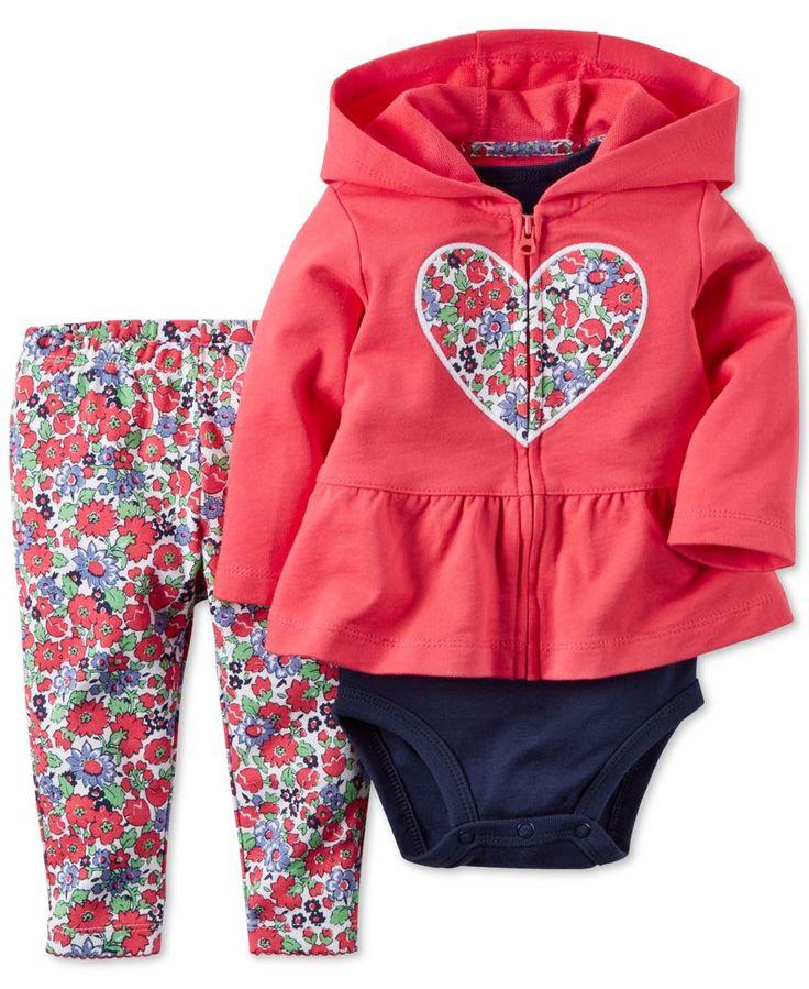 Carter's Baby Girls' 3-Piece Heart Cardigan, Bodysuit & Floral-Print Leggings Set