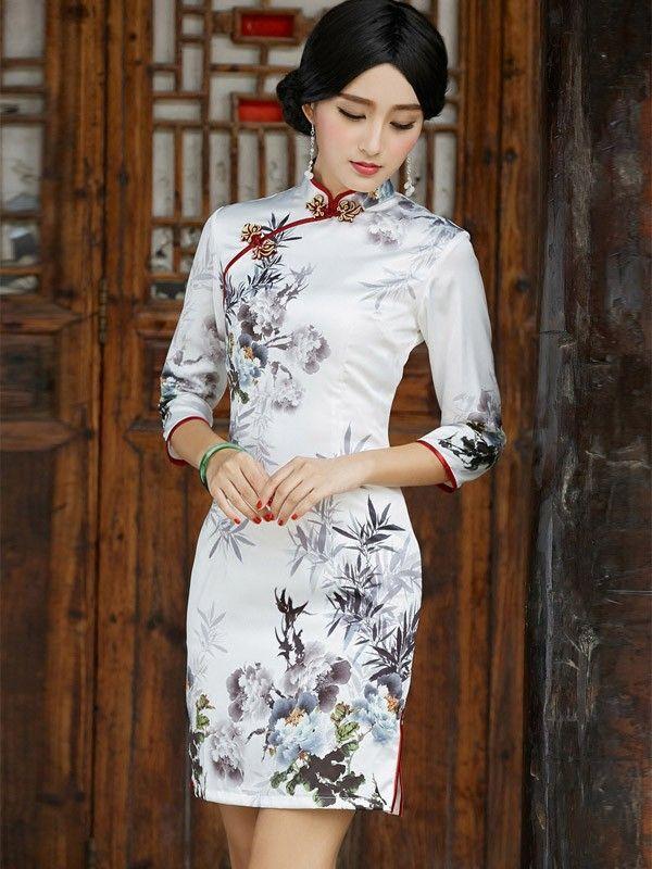 Half Sleeve Qipao / Cheongsam Dress with Print of Chinese Painting