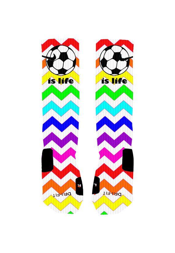 Custom Soccer Nike Elite Socks Rainbow Chevron by NikkisNameGifts, $20.00