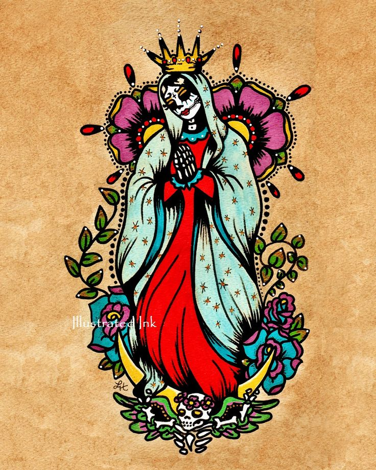 Day of the Dead Virgin de Guadalupe Virgin Mary Old School Tattoo Art Print