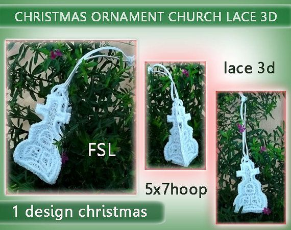 Christmas lace 3D  Church No.226 - 5x7hoop - Machine embroidery digitization./INSTANT DOWNLOAD