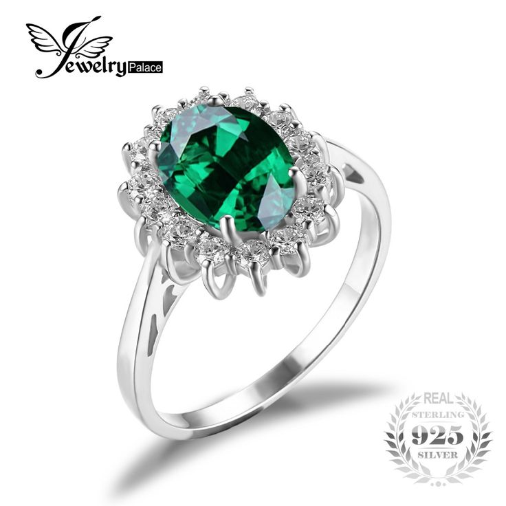 JewelryPalace Green Nano Russian Emerald 925 Sterling Silver Fashion Princess Diana Engagement Wedding Ring For Women Solitaire