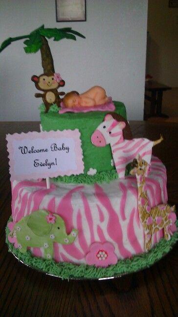 Girl Jungle Theme Baby Shower Cake