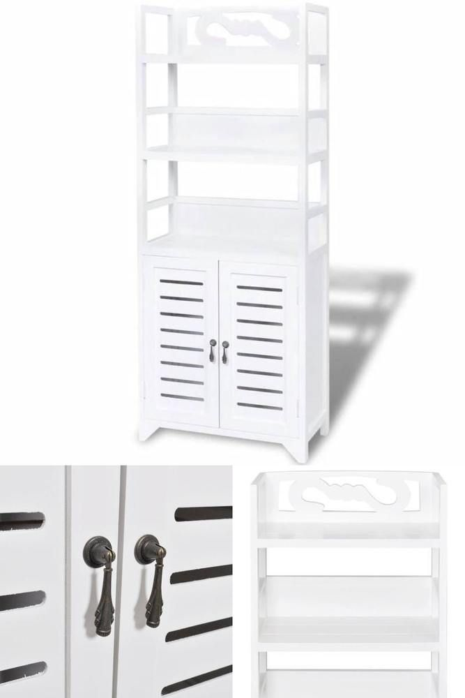 White Wooden Storage Unit Bathroom Bedroom Kicthen Cabinet Display Shelves Doors Wooden Storage Bathroom Units Display Shelves