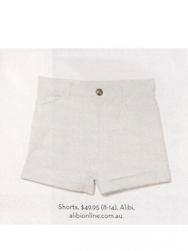 White Denim Shorts by Alibi at AlibiOnline. As seen in Jan issue.