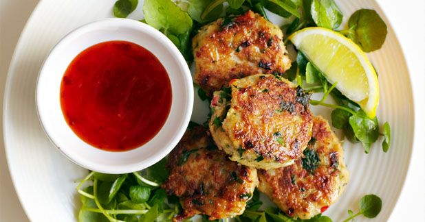 Chilli and ginger crab cakes with watercress: Homemade Thai crab cakes ...