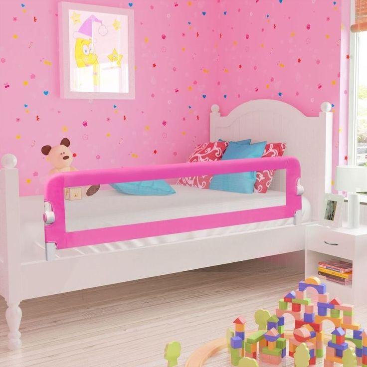 Large Bed Guard Toddler Safety Baby Folding Mesh Rail 150cm Pink Children Kids