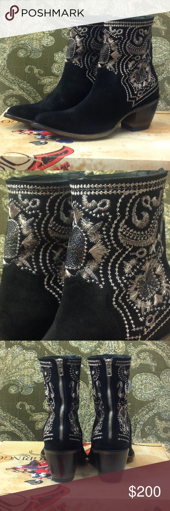 Old Gringo Yippee Ki Yay brand booties Beautiful black suede booties with metallic silver detailed embroidery. These boots are new with tags, all original stuffing and boxes. The perfect embroidered bootie to dress up your favorite jeans or dress. Old Gringo Shoes Ankle Boots & Booties