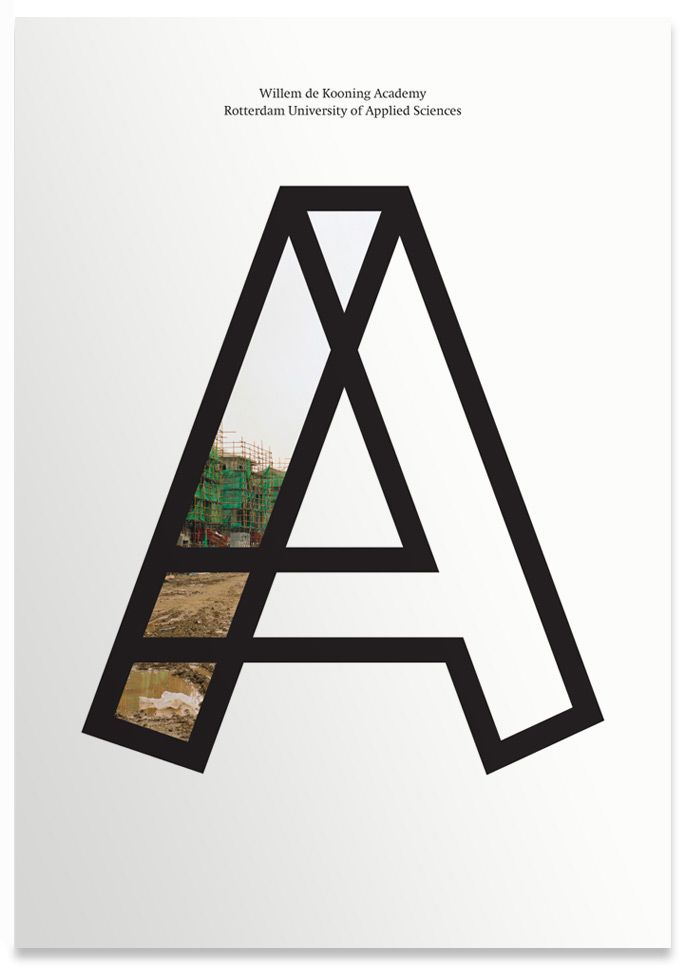 Outlining the letter's shape, and then selectively filling the negative space with an image or photograph, makes a strong impression on the viewer.