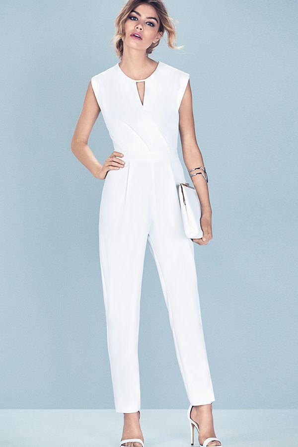 Go all-white on summer nights in a sophisticated jumpsuit and matching accessories. #newlook #fashion