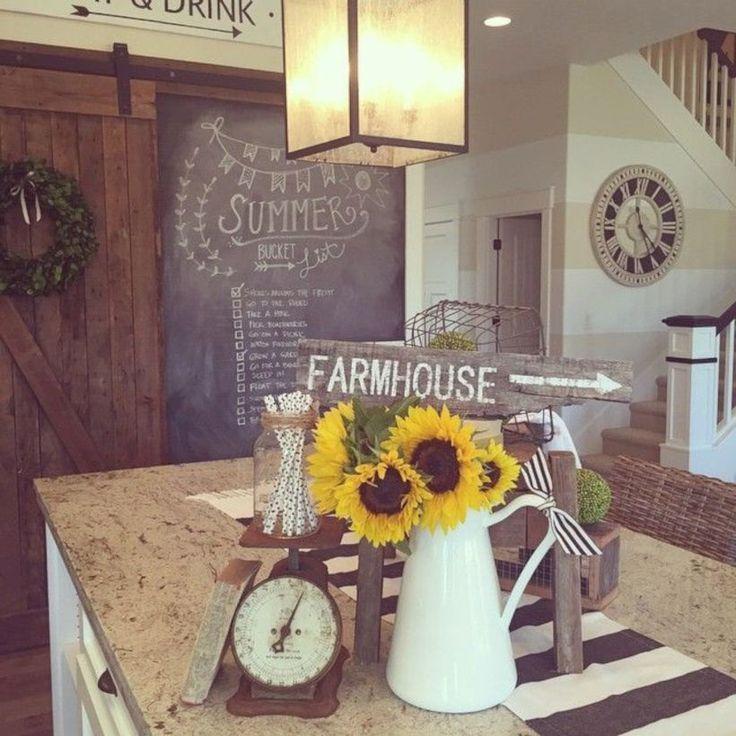 49 Beautiful Farmhouse Decor Ideas For Summer Sunflower Kitchen