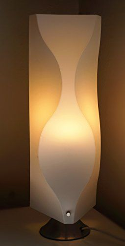 Table Lamp JK102S Contemporary Modern Asian style wavy white plastic shade Lighting with Art Deco design for Living Room Bedroom bedside teen and kids room  LED bulb prefered * Find out more about the great product at the image link. (Note:Amazon affiliate link)