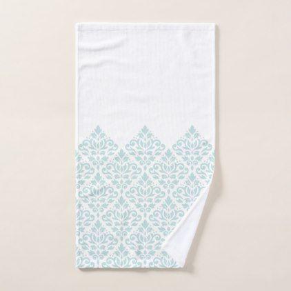 Scroll Damask Part Ptn Duck Egg Blue (B) on White Hand Towel - pattern sample design template diy cyo customize