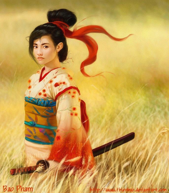Картинка женщина самурай