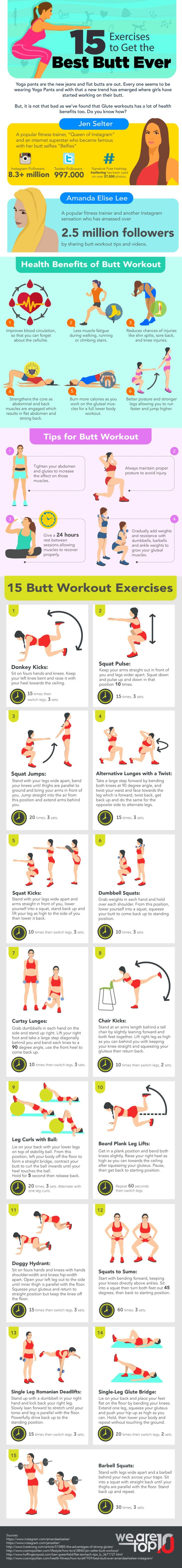 15 Exercises to Get the Best Butt Ever #Infographic #Fitness #Health #Yoga