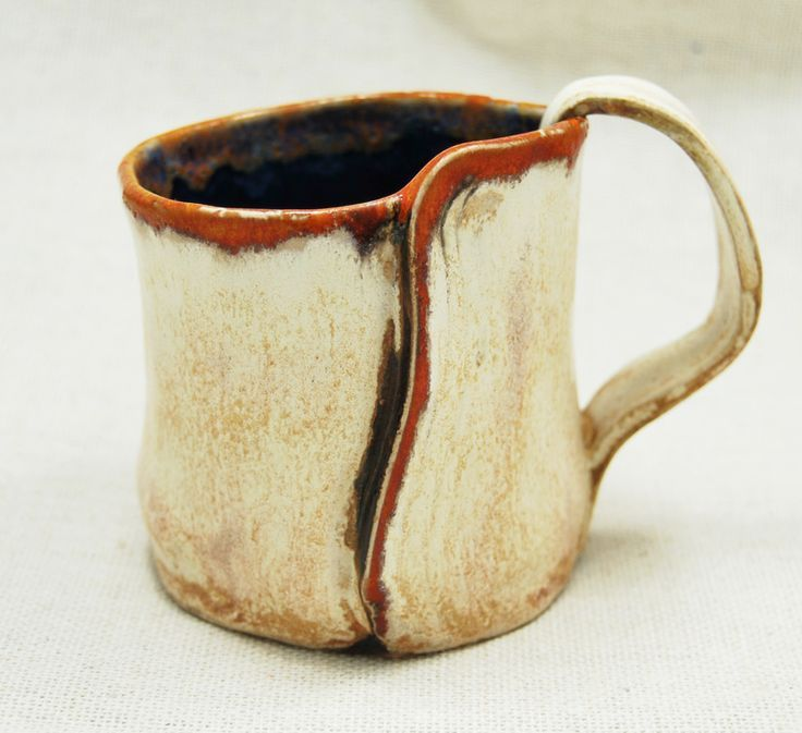 Handbuilt ceramic mug: I love the shape, seam, handle, colors...