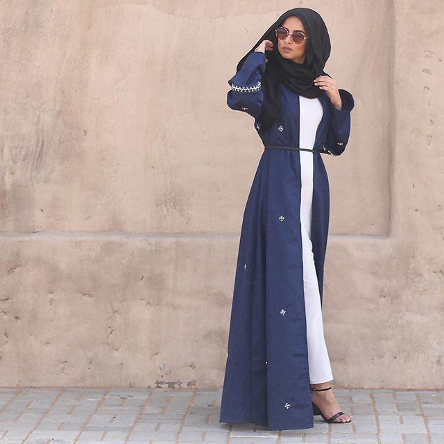 Gorgeous navy blue open abaya #feeeeya#fashion#flow#modest#
