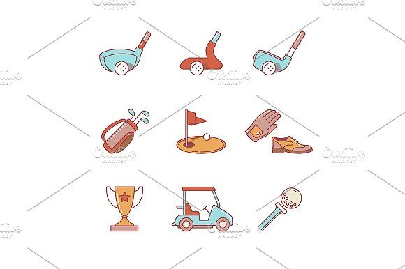 Golf sport and equipment by Iconicbestiary on @creativemarket