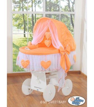 Hand made Wicker Crib Vintage Moses Basket bassinet  Hearts - Peach-White - BabyShoppingMarket.com - €239,00 #babyshoppingmarket #wicker #crib