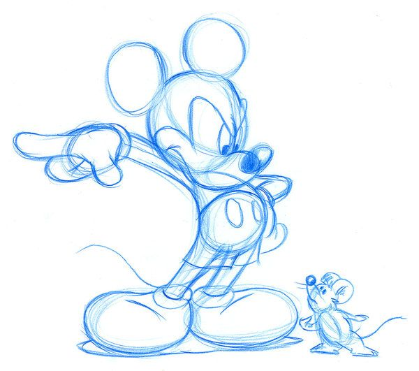 Sketch of mickey mouse and a small mouse um mickey for How do you draw a mouse
