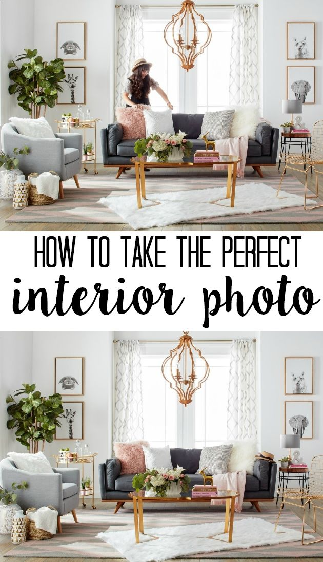How to take the perfect interior photo. Photography for interiors can be tricky! Here are professional tips for shooting house interiors- staging and composition to capture your gorgeous home (perfect for home decor bloggers!)
