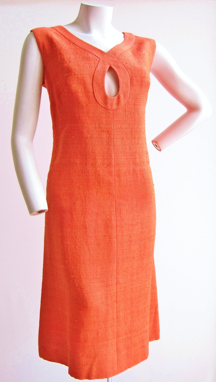 1960's AutumnOrange Linen Dress with Keyhole Neckline  M/L. $58.00, via Etsy.