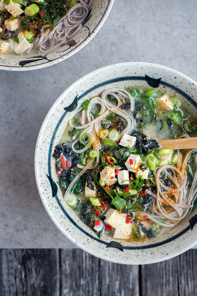 Japanese Miso, Kale and Tofu Soup - vegan, gluten-free and ready in 10 minutes!