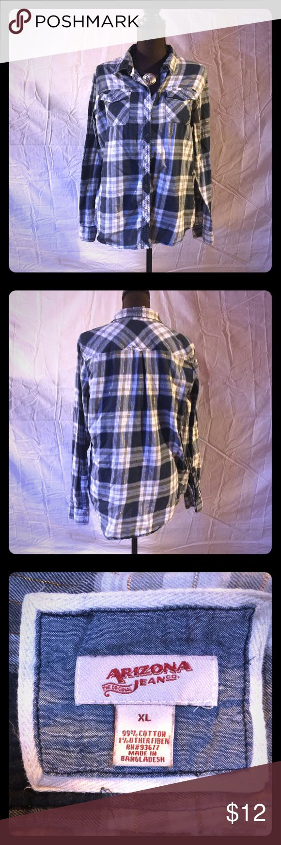 """Arizona Jean Co Plaid button down top. Navy, grey and white with metallic gold accent button down Plaid shirt from Old Navy. Size XL. Gently used and in very good condition. No rips, tears or stains. Measures pit to pit 22"""", rear collar to hem 28"""". 99% cotton. No trades. Reasonable offers welcome. Old Navy Tops Button Down Shirts"""