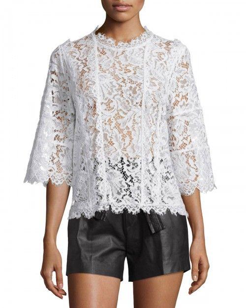 Iro Yacinthe 3 4 Sleeve Lace Top Ecru Women's 34 | Clothing
