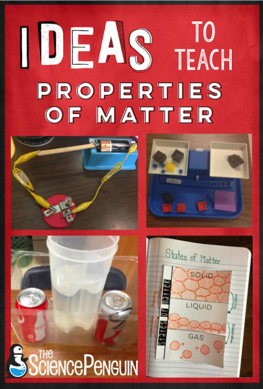 ideas for volume, mass, relative density, magnetism, electrical conductivity, thermal conductivity, and states of matter