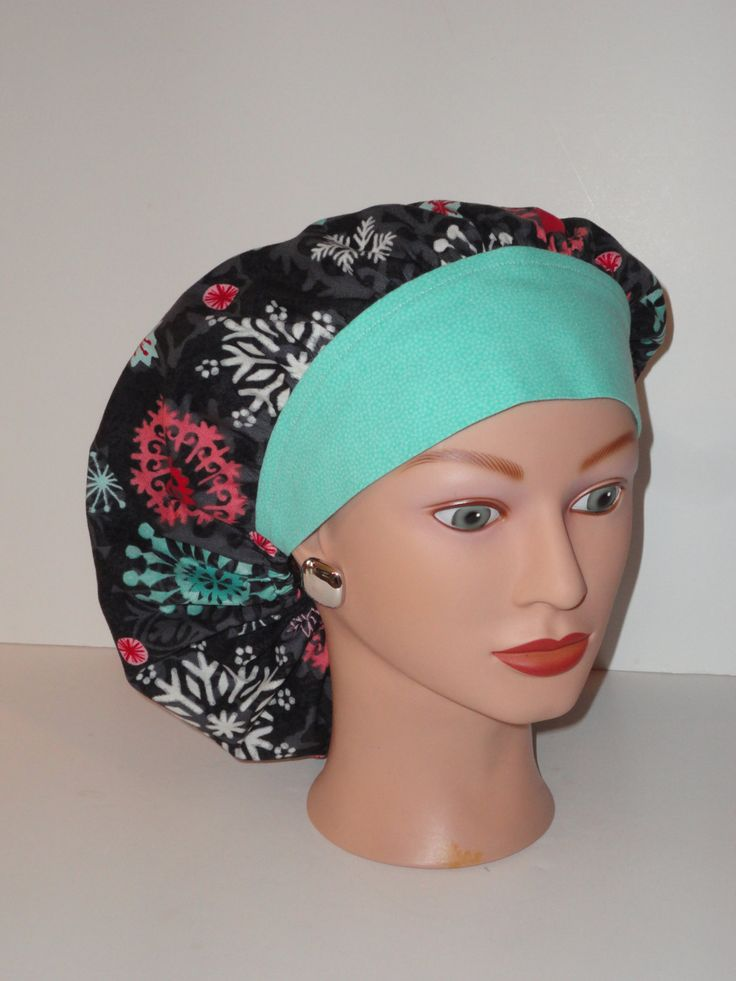 The Perfect Sized Bouffant Scrub Cap...Winter Snowflakes w/Mint Band...OR Scrub Cap...Surgical Scrub Cap by TwoSew on Etsy