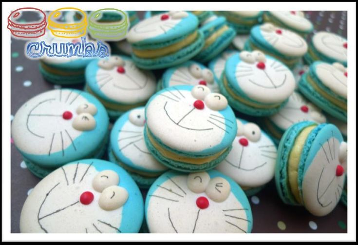 Doraemon Macarons / Macaroon Find out more at: http://www.crumbsmacaron.com