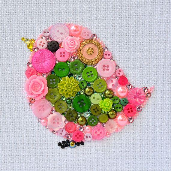 Pink Bird  Button Art Vintage Buttons by PaintedWithButtons