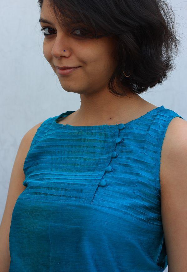 indigenecraft.com | Chanderi Kurti With Yoke Detailing