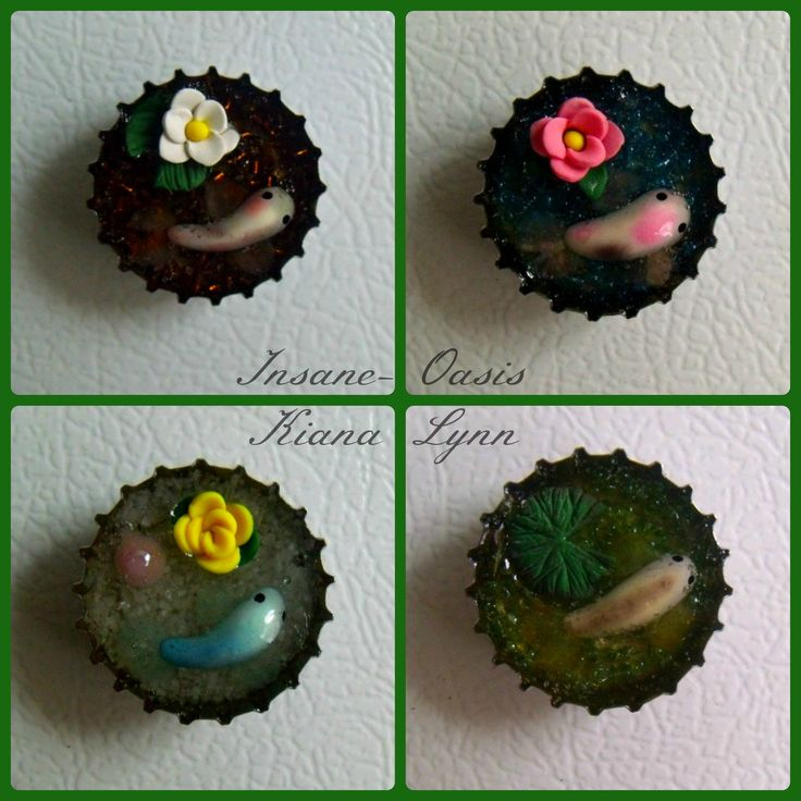 Bottle cap magnets with little koi ponds inside. Flora and fauna are made of polymer clay, and the 'water' is epoxy resin.