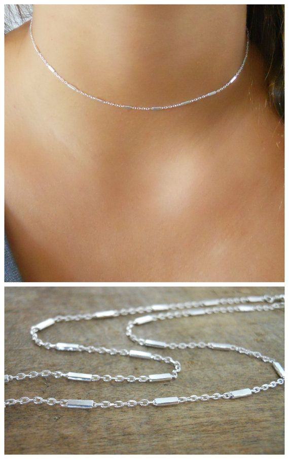 Beautiful silver choker necklace. Perfect to wear on its own or to layer with more necklaces of your collection.    ◂▸◂▸◂▸◂▸◂▸◂▸◂▸◂▸◂▸◂▸◂▸◂▸◂▸◂▸◂▸◂▸◂▸◂▸◂▸◂▸◂▸  ⊹ D e t a i l s  Sterling silver chain with tiny tubes Sterling silver spring clasp and links   ◂▸◂▸◂▸◂▸◂▸◂▸◂▸◂▸◂▸◂▸◂▸◂▸◂▸◂▸◂▸◂▸◂▸◂▸◂▸◂▸◂▸  ⊹ L e n g t h  Please select your preferred length in the option menu. The length of the necklace on the model in picture #2 is 12 The length of the necklace on the model in pictures #1, #4 & #...