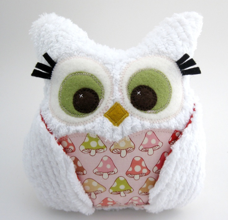 Plush Owl Pillow - white chenille - mushroom fabric and red polka dots. $35.00, via Etsy.