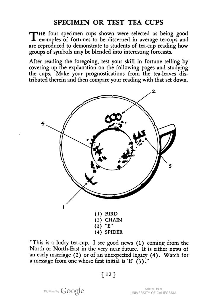 """Test tea cups showing examples of how to read tea leaves to reveal one's fortune. Your Future in the Tea Cup, published by the Lipton's Tea company """"as a means of amusement and entertainment."""""""