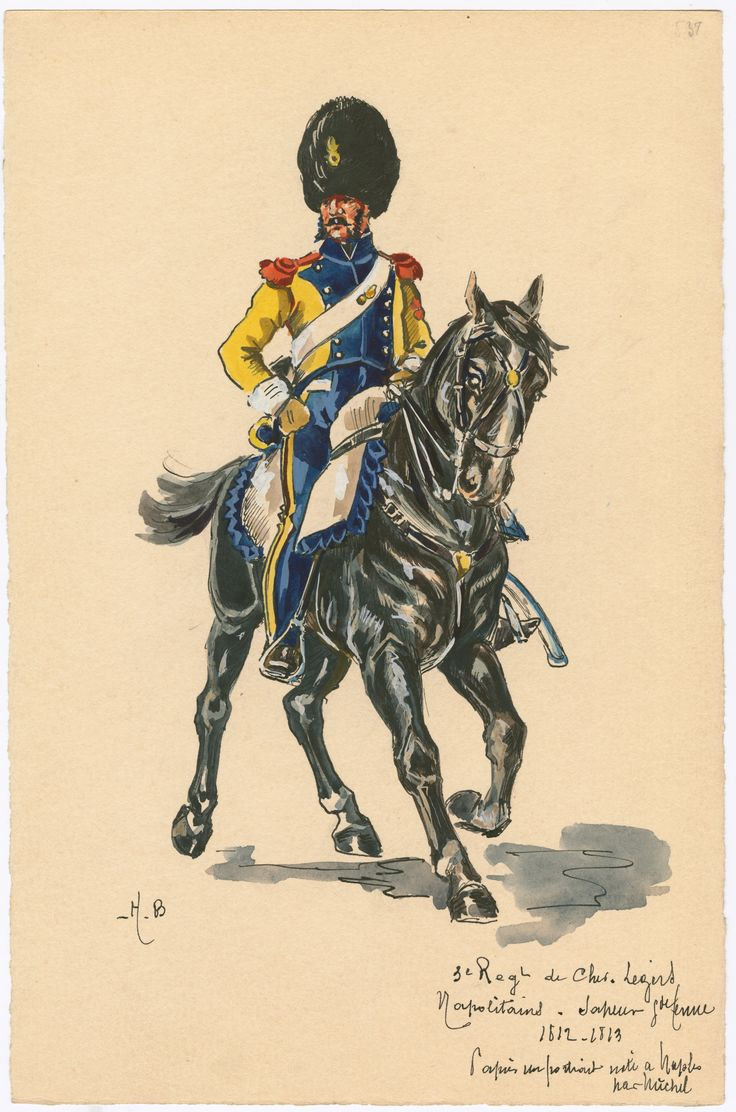Kingdom of Naples; 3rd Regt Cheveau Legers, Sapper in Grande Tenue, 1812-13 by H.Boisselier