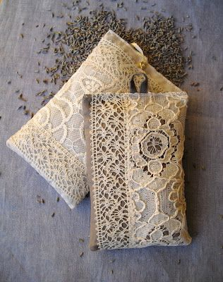 Lavender sachet - decorated with lace