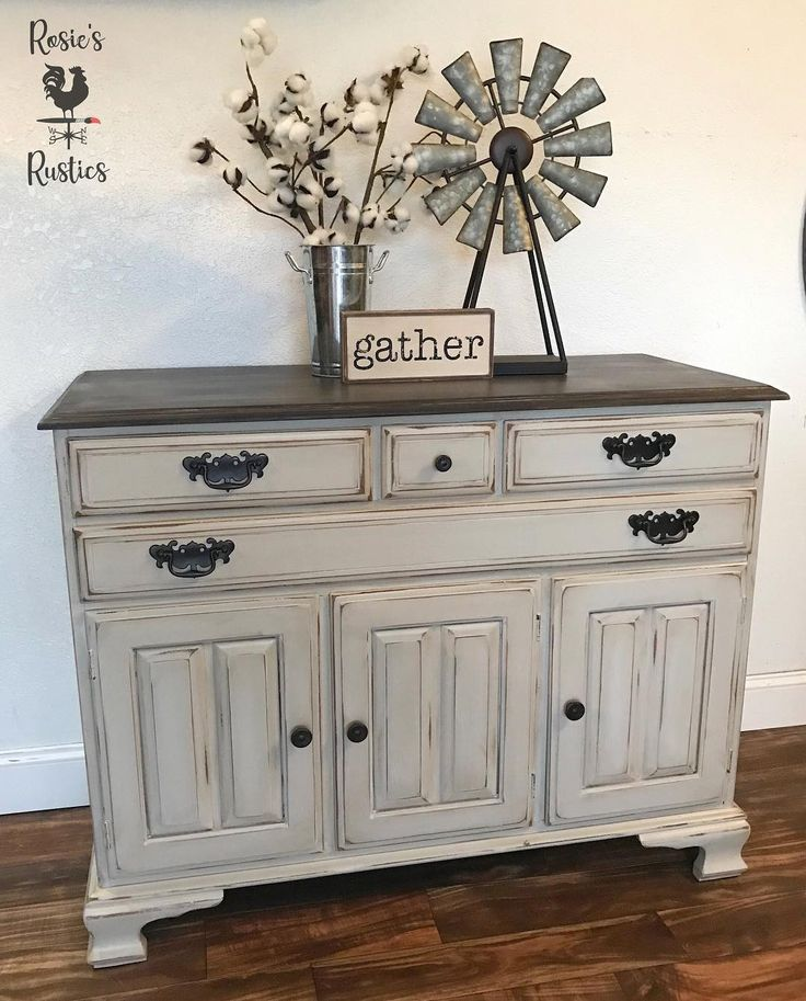 Smoky Pearl Furniture Painting Technique Captiva: General Finishes Seagull Gray With Glaze Buffet Vintage