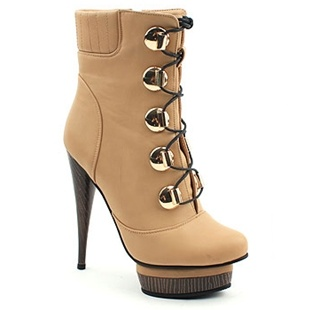 [SHOESONE.BIZ] 2091  Laced up Gold-Decorated Beige Ankle Boots (13.5cm)
