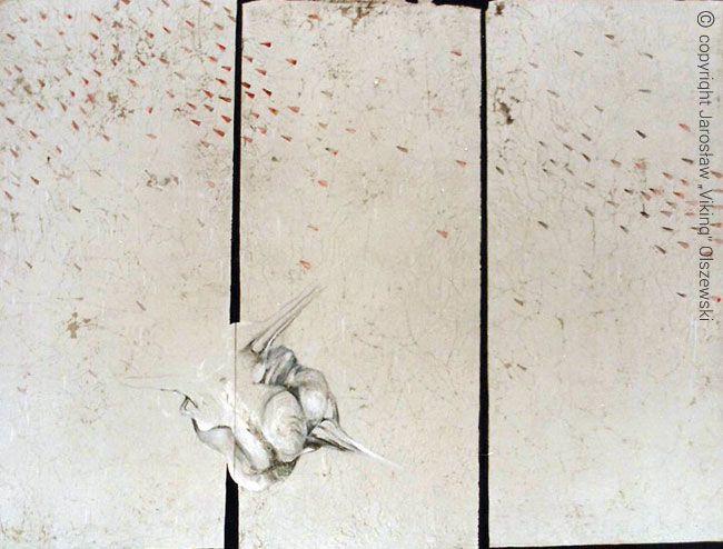 From the series The future landscape developed. Mixed media, canvas size - 200cm x 200cm, year of establishment - 1993 Z cyklu Przyszłość pejzażu rozwiniętego. Technika mieszana, płótno, wymiar - 200cm x 200cm, rok powstania - 1993
