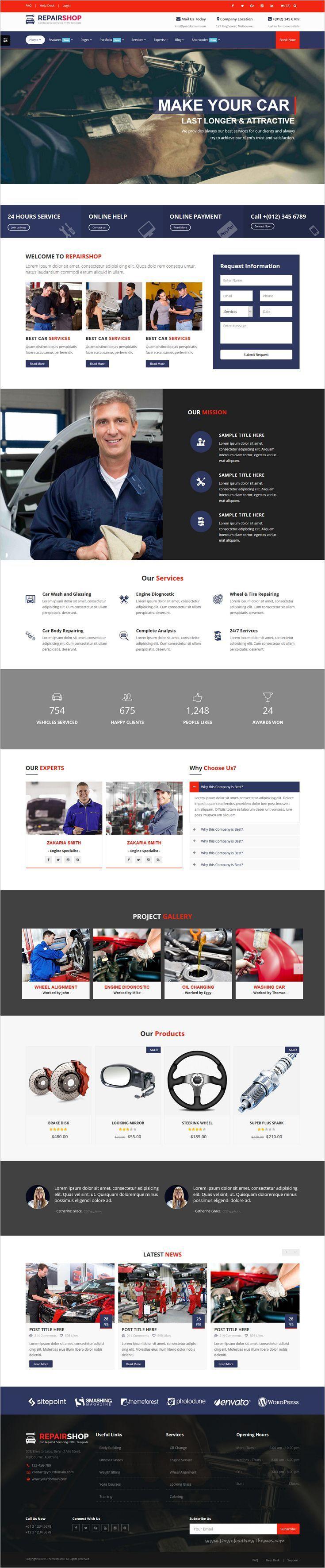 Repairshop car repair car wash responsive html5 template