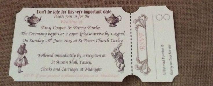 Alice in Wonderland Ticket style wedding invitations. in Home, Furniture & DIY, Wedding Supplies, Cards & Invitations | eBay