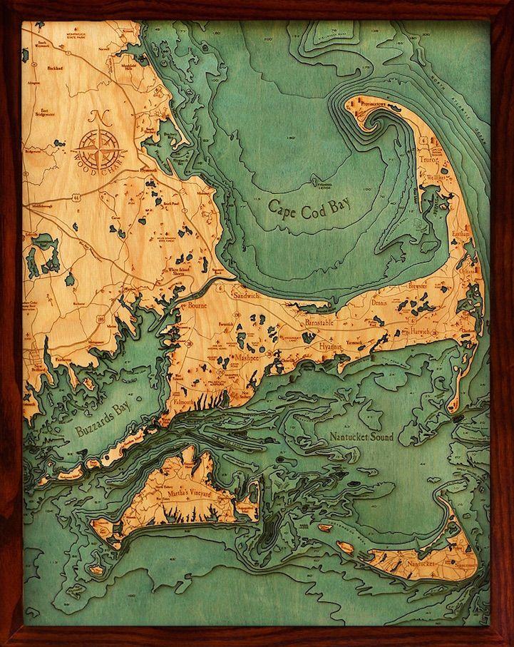 Seattle Map Lake Union%0A  D Laser Cut Wood Maps Show Hidden Underwater World
